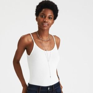 American Eagle White Soft & Sexy Ribbed Bodysuit